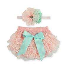 2016 Lace Newborn Ruffled Baby Bloomers Diaper Cover Headband Set,Newborn Ruffled Panties Baby Girls,Flower Infant Baby Shorts(China (Mainland))