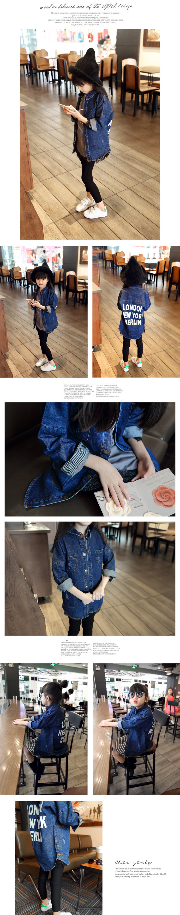Spring Autumn Back Letters Printing Washed Denim Long Sleeved Shirt Kids Clothing Blue Demin