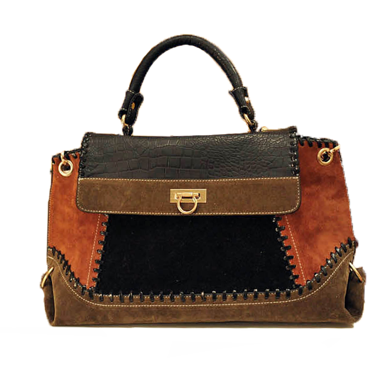 Vintage Suede Leahter Patchwork Women's Handbag Promotion US Market Hot Sale Line Design Ladies hand bags High Quality YM-026(China (Mainland))