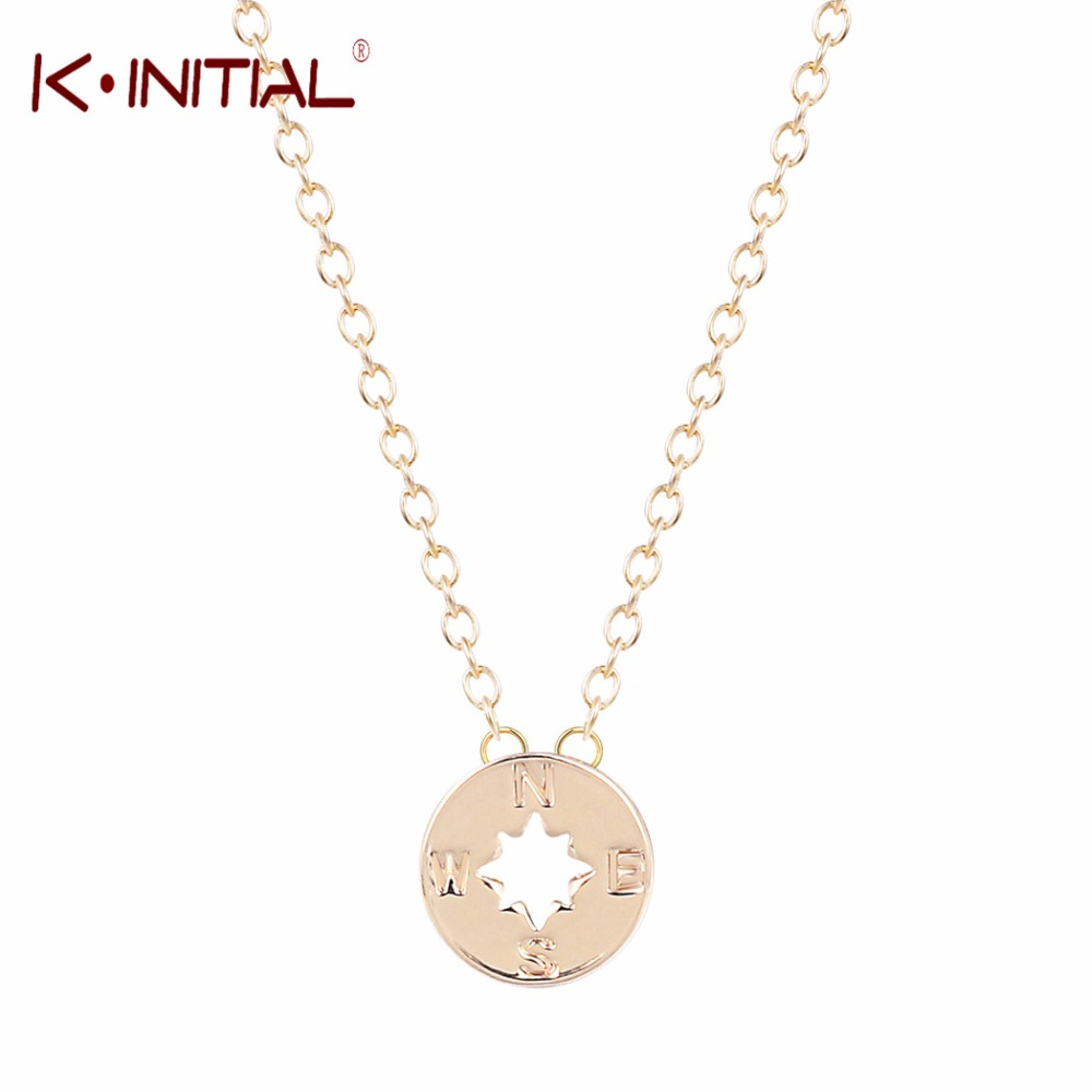 Kinitial 1Pcs Gold Silver Plated Handcrafted Cut Compass Necklace Pendant Jewelry Disc Chain Compas Necklace Long Sweater Bijoux(China (Mainland))