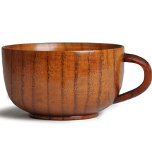 Japanese style Coffee cup wooden cup with handle set , tableware and household wholesale free shipping
