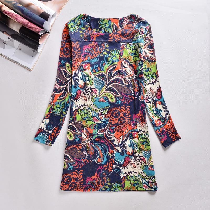 Women Winter Dresses 2016 Long Sleeve Vintage Floral Print ...