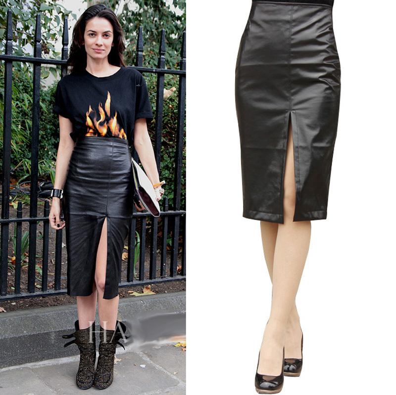 Online Get Cheap Black Leather Skirt Long -Aliexpress.com ...