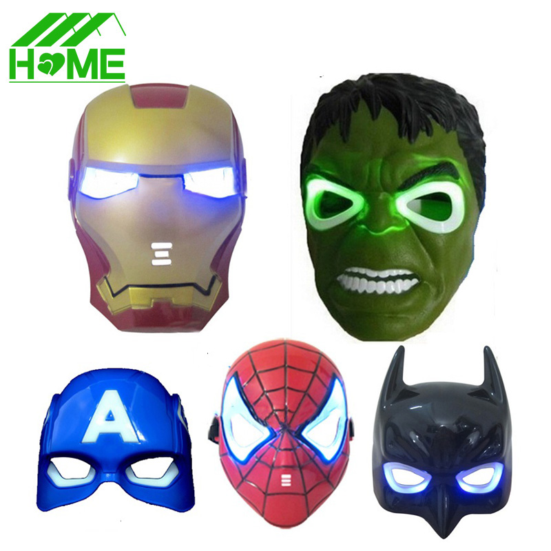 5pcs LED Glowing Halloween superhero Face mask Avengers Captain America Spiderman Hulk Iron man Batman Party Facial Eye Masks(China (Mainland))