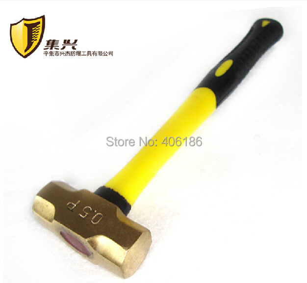Non sparking 0.5p/0.22kg Brass Sledge Hammer with Plastic Handle,Safety Hand Tools(China (Mainland))