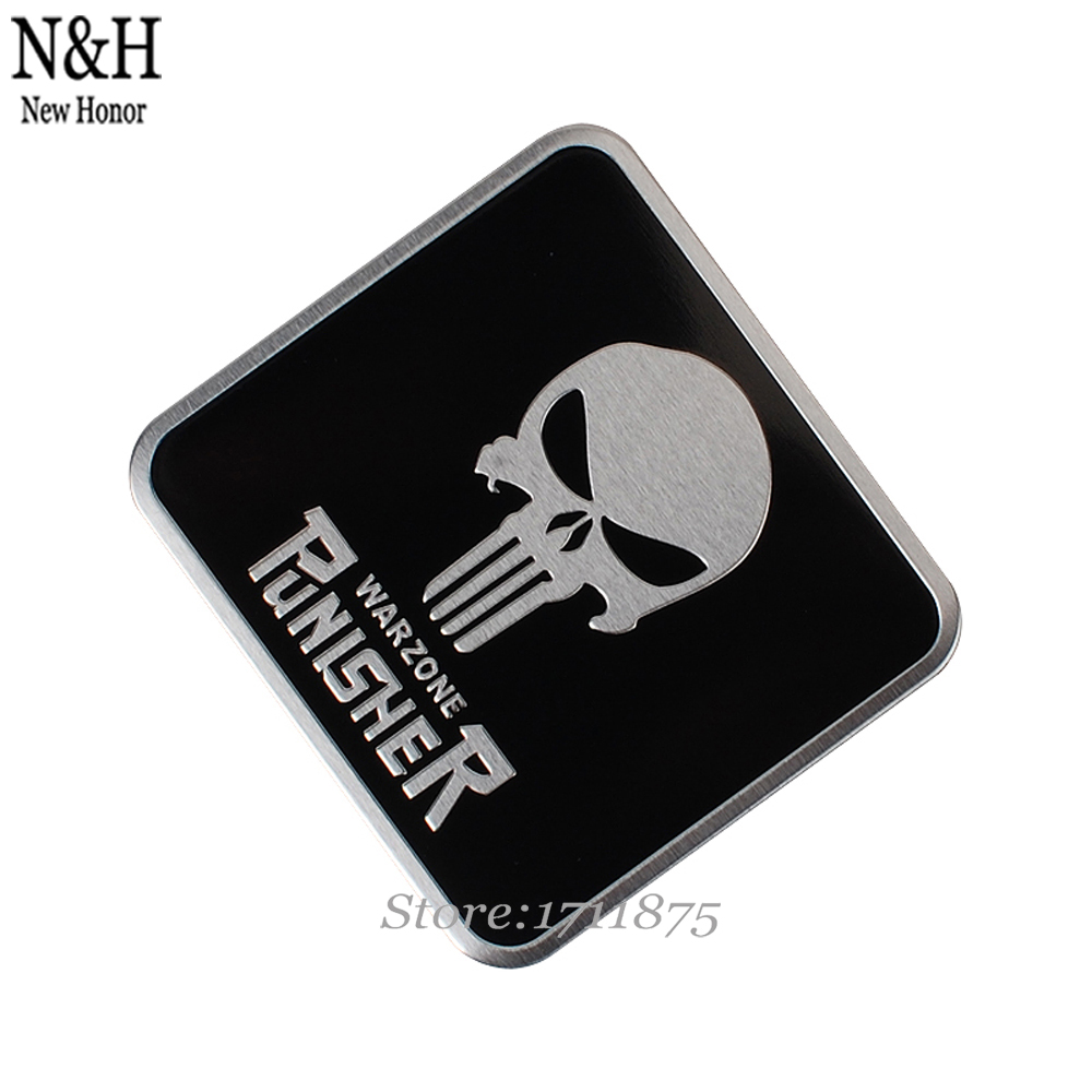 Aluminium Alloy Car Styling Accessories Punisher Skull 60x55mm Logo Emblem Stickers Auto Badge Honda BMW VW Audi Jaguar