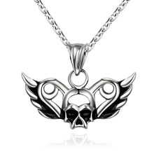 2015 Lureme New Punk Gothic Style Stainless Steel Skull Wing Shape Pendant Necklace for Men Bijoux Gift Wholesale