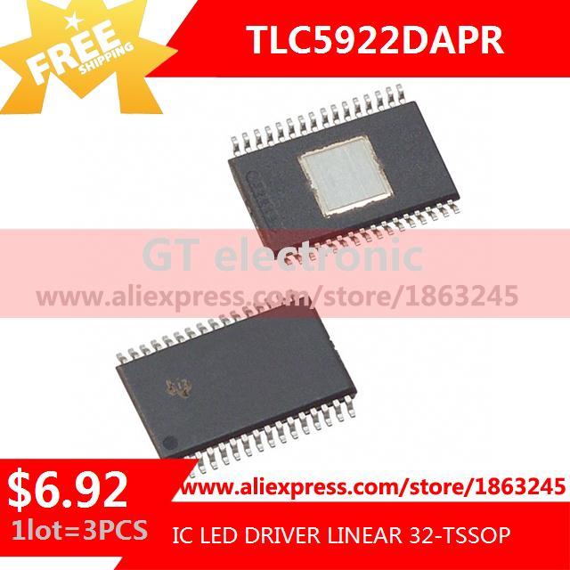 Free Shipping Diy Integrated Circuits TLC5922DAPR IC LED DRIVER LINEAR 32-TSSOP 5922 TLC5922 3pcs(China (Mainland))
