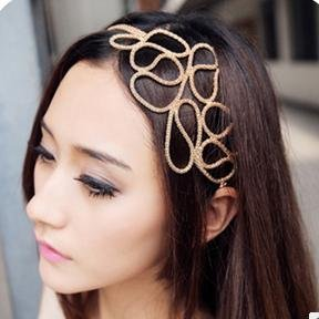 Promotion Classic Multilayer Gold-plated Chain Braided Elastic Hair Rope Femininas Headbands A23R1