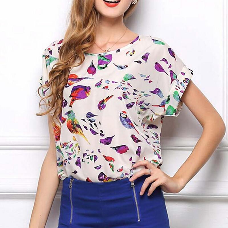 2014 Summer New Chic Hot Sale Women Birds Print Chiffon Shirt Blouse Casual Tops Batwing Sleeve Plus Size XL 2XL Free Shipping(China (Mainland))