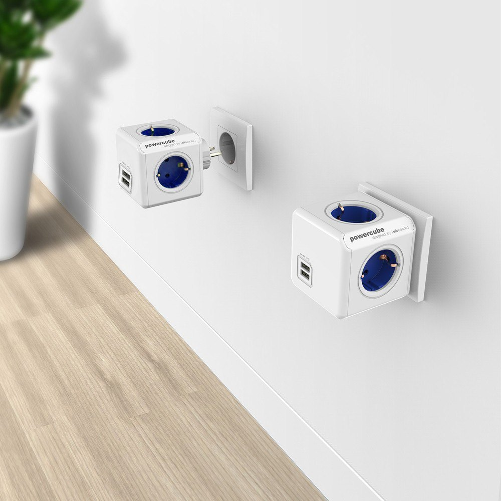 Электрическая вилка Allocacoc PowerCube /4 USB 2A 5 250 16 3680W PowerCube Socket EU Plug 森巴amigo11