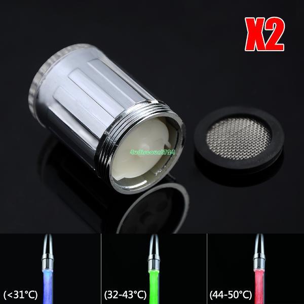 2pcs/lot RGB 3 Colors Kitchen LED Lights Faucet water Tap Temperature Control EB5812 led faucet light with temperature sensor(China (Mainland))