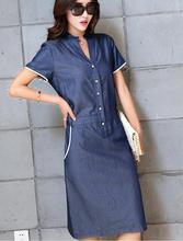 Sexy V neck Denim Dress 2016 Summer Style font b Women b font Casual Blue Jean