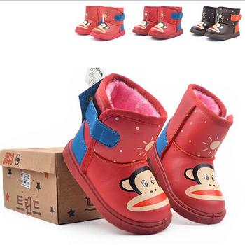 Зима детская одежда мужской девочка тепловые низкие зимние ботинки толстый ребенок 2 - 6