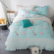 Fleece Lace Fabric Korea Girls Bedding set King Queen Size Bule Floral Bed set Duvet Cover Bed Sheet PillowCases For Christmas(China (Mainland))