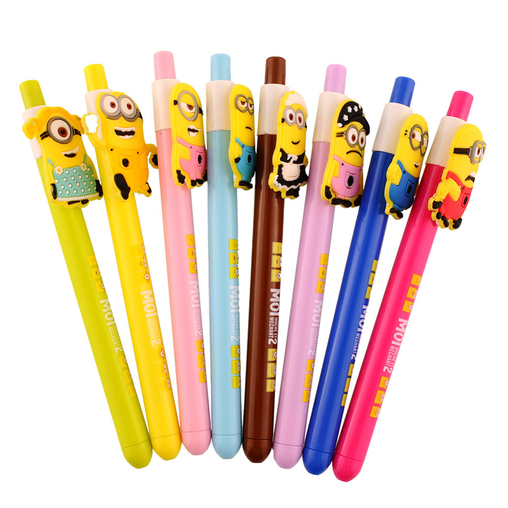 New 8 Cute Fun Despicable Me 2 Minions Figures Inks Ballpoint Pen Pens Kids Student Stationery Gifts(China (Mainland))