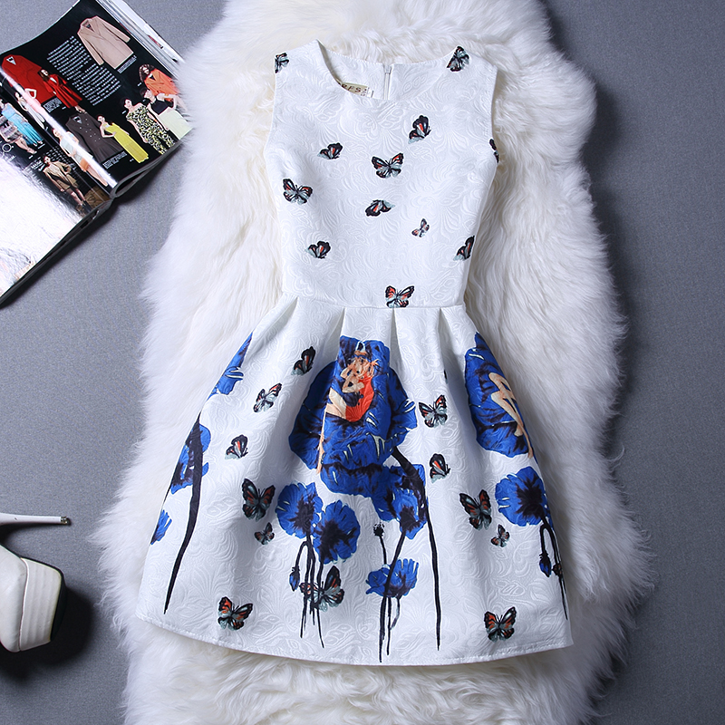 Girls Dresses Summer 2016 Teenage Girls Clothes Flower Printed Girl Dress Brand Designer Princess Kids Clothes Children Costume(China (Mainland))