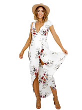 Buy New Fashion Floral Print Chiffon Maxi Dresses Short Sleeve V Neck Split Beach Summer Dress Sexy Party Women Dress Long Vestidos for $14.03 in AliExpress store