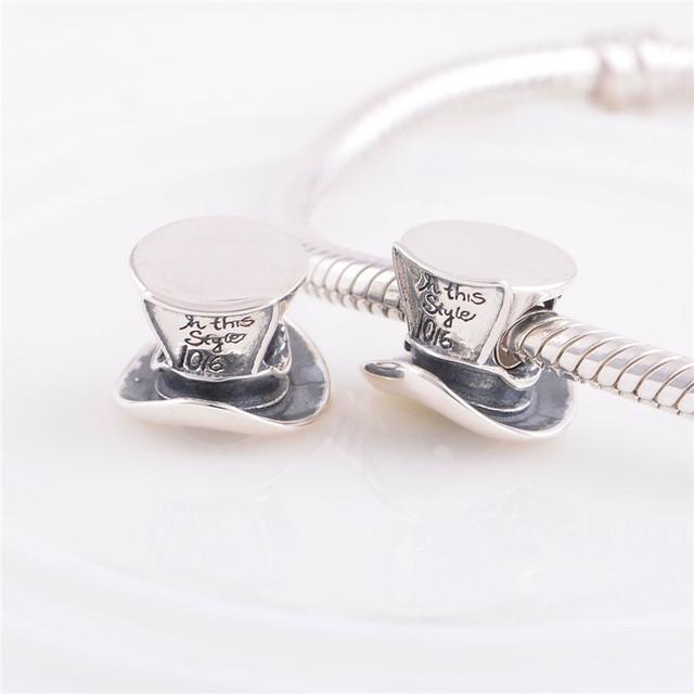 Аутентичные стерлингового серебра 925 бусины ретро Hat урожай шарм DIY изготовления ювелирных изделий подходит для Chamilia европейский шарм браслет