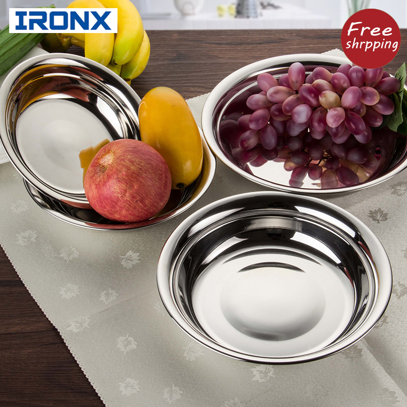 304 Stainless steel 8/18 round fruit plates Deepen thicken dinner dish Household Wide-edge anti-scald kitchen containers(China (Mainland))