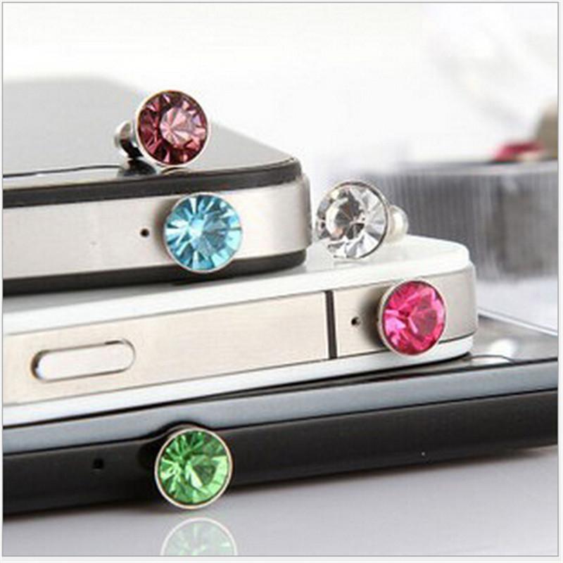 Luxury Bling Diamond Small Dust Plug 3.5 mm Earphone Plug For iphone 4 4s/5 5 Phone Accessories Random Color shipping 10pcs/Bag