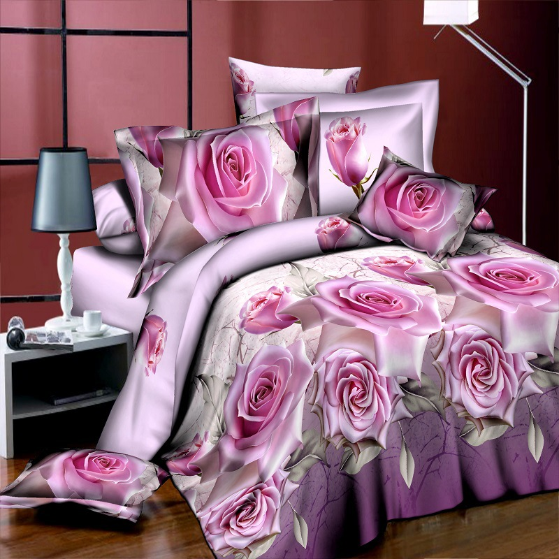 New Style White Red Flower 3D Bedding Set of Duvet Cover Bed Sheet Pillowcase Bed Clothes Comforters Cover Queen No Quilt(China (Mainland))