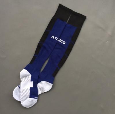 Men's thai quality soccer socks calcetines for atletico 2015 2016 away dark blue navy football kits uniform(China (Mainland))