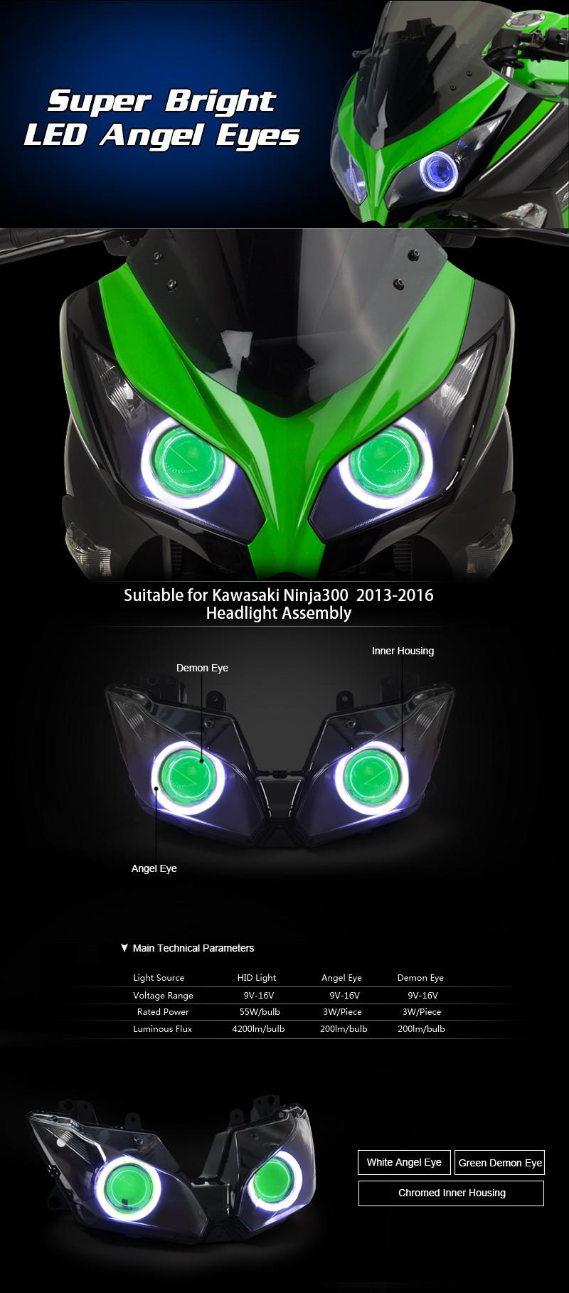 KT Headlight for Kawasaki Ninja 300 2013-2016 LED Angel Eye Green Demon Eye Motorcycle HID Projector Assembly 2014 2015