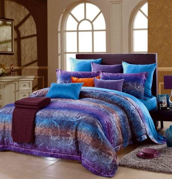 Egyptian cotton blue purple striped luxury bedding - Purple and blue comforter sets ...