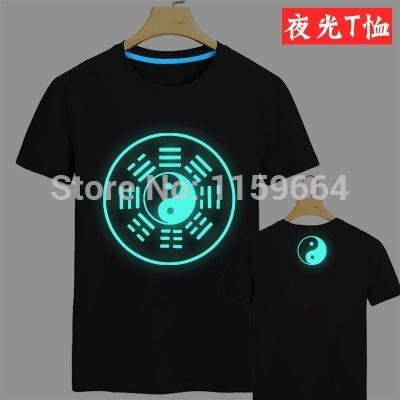 Chinese style Taoism Buddha character eight diagrams Drive the demons to ward off bad luck with short sleeves Luminous T-shirt(China (Mainland))