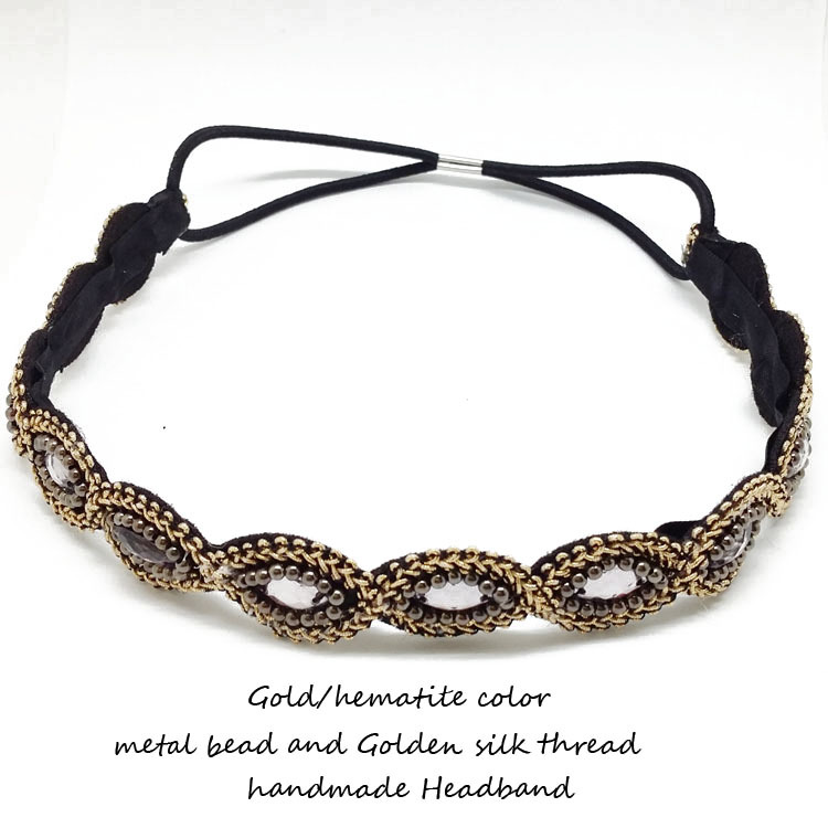 wholes and retail 2014Fashion Pure manual Golden silk thread knitted bead elastic headband women Hair Accssories Free shipping(China (Mainland))
