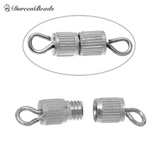 """DoreenBeads Hot Sale Copper Screw Clasps Necklace Bracelet Jewelry Findings Cylinder Silver Tone 15mm( 5/8"""") x4mm( 1/8""""), 6 PCs(China (Mainland))"""