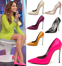 2014 Hot Selling Sexy genuine leather fashion Pointed toe high heels/Neon 6 color New design heels 32-42 - Amay98's store