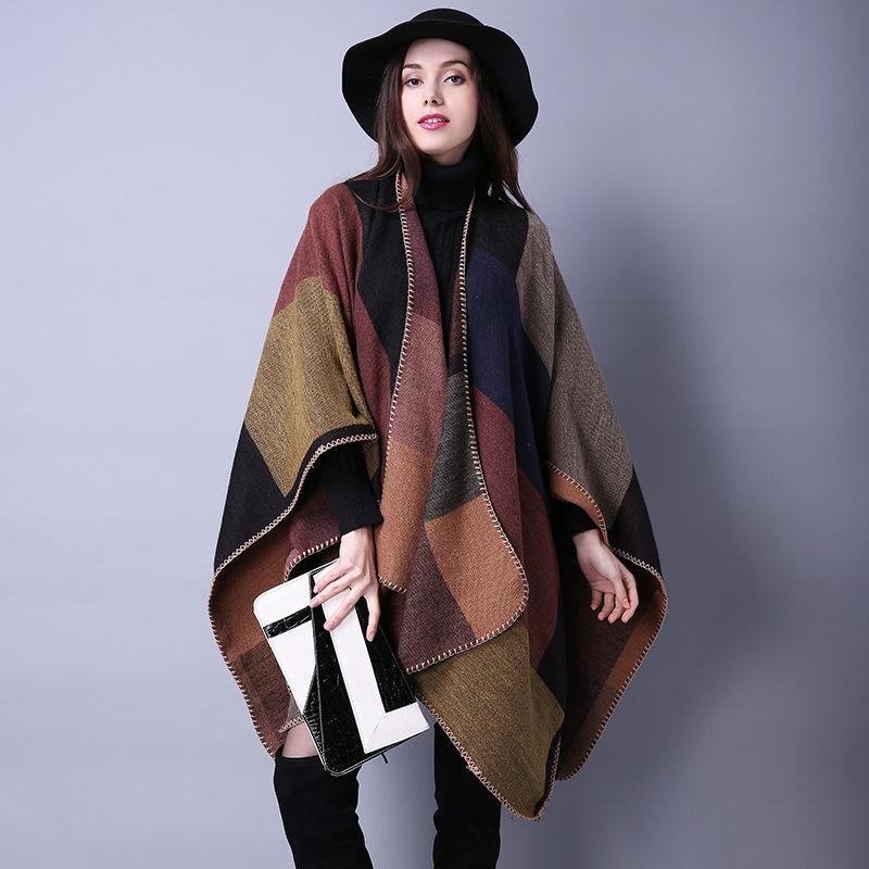 2017 Luxury Brand Plaid Cashmere Winter Woman Poncho Scarf Female Oversized Blanket Wrap Cape Women Pashmina Shawls and Scarves