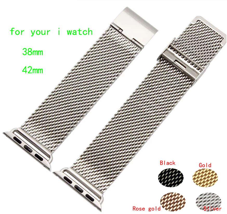 38mm 42mm Watch Strap Silver Shark Mesh Chainmail STAINLESS STEEL Mens Ladies Bracelet For i watch Free Shipping(China (Mainland))