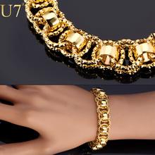 Buy U7 Hand Chain Bracelet Trendy Gold/Silver/Black Color 21cm Unique Round Bracelets Bangles Women/Men Jewelry Hot Sale H489 for $4.49 in AliExpress store
