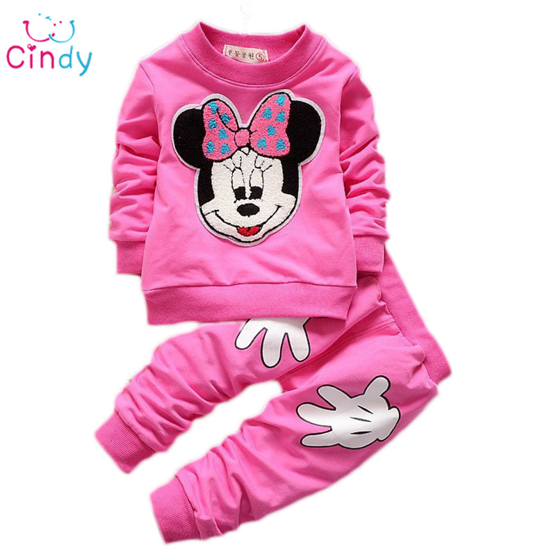 2015 Rushed Promotion Coat Character Regular Full Vestidos Kids Sport Wear Garment Fashion Minnie Baby Clothing Set Suit Clothes(China (Mainland))