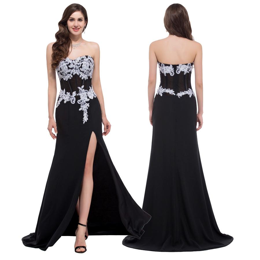 Strapless High Split Black Evening Dresses Robe De Soiree Lace Appliques Long Dresses Evening Traje De Gala Grace Karin C7519(China (Mainland))