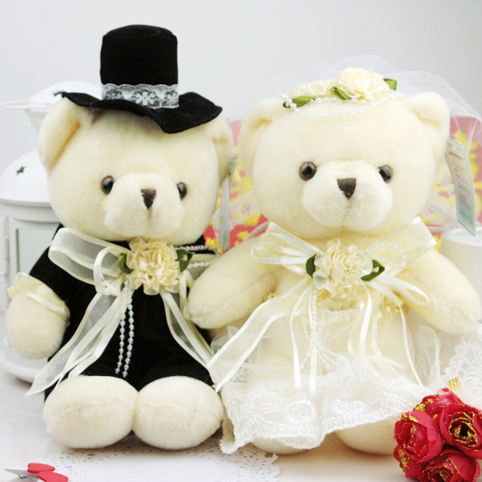 1 Pair 20cm=7.8in Wedding Couple Teddy Bear plush Stuffed animals soft toys,High-quality peluches juguetes,Free shipping(China (Mainland))