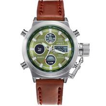 2015 new Unique Vogue Men Swimming Digital LCD Quartz Outdoor Sports Watches Relogio Masculino Clock With Handmade Leather Strap