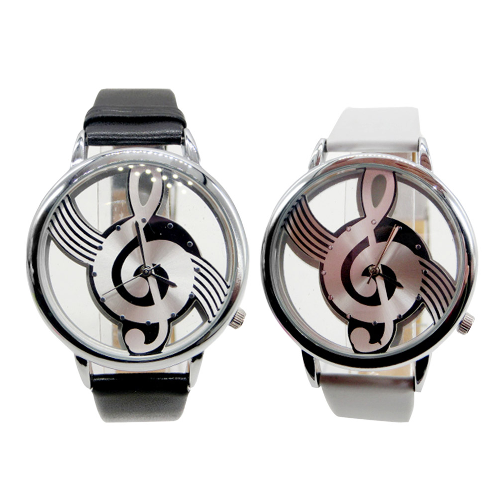 Leisure Style Inlaid Rhinestone Musical Notation Engraving With Delicate Quartz Dial Wrist Lady s Watch Gift
