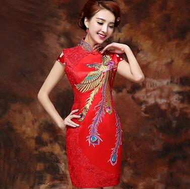 bride wedding dress toast 2015 new fashion short red dress Phoenix embroidered retro cheongsam dress LZ514(China (Mainland))