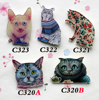 New Arrival Acrylic Badge HARAJUKU Cat Brooch Christmas Gift CC Broche Hijab Pin up Scarf  Collar Cheap Brooches , Badges Punk