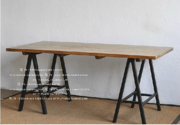 Metal Frame Wood Retro Nostalgia Table Work Desk Drawing Table