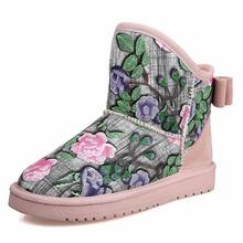 KUNYIN Mujeres Bordado botas de nieve de invierno botas de moda zapatos casuales Envío Libre(China (Mainland))