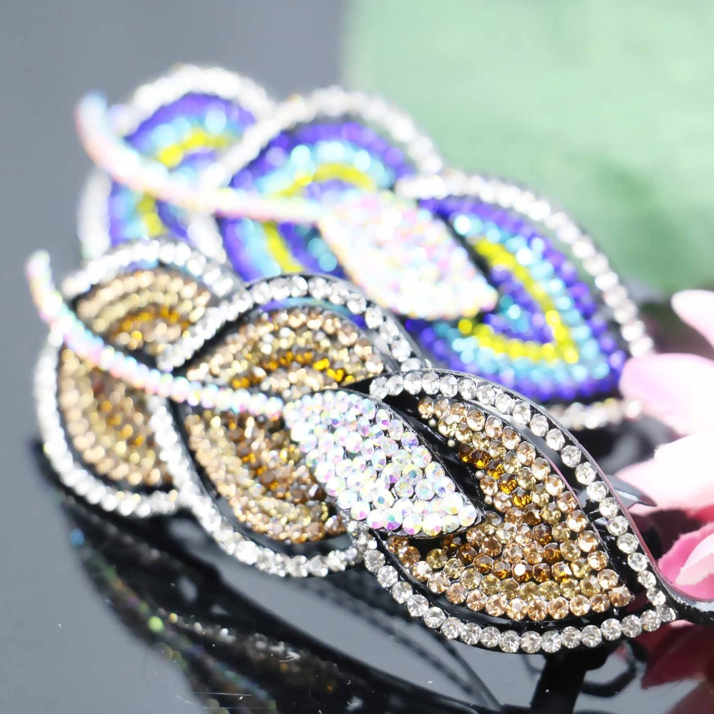 32*97mm Wedding Headdress Bridal Like Leaves Elegant Inlaid Rhinestone Hairpin Clip Hair Accessory Headpiece Head Bands(China (Mainland))