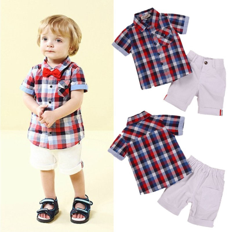 Pop kids baby boys casual clothes checked shirt and bow for Baby shirt and bow tie