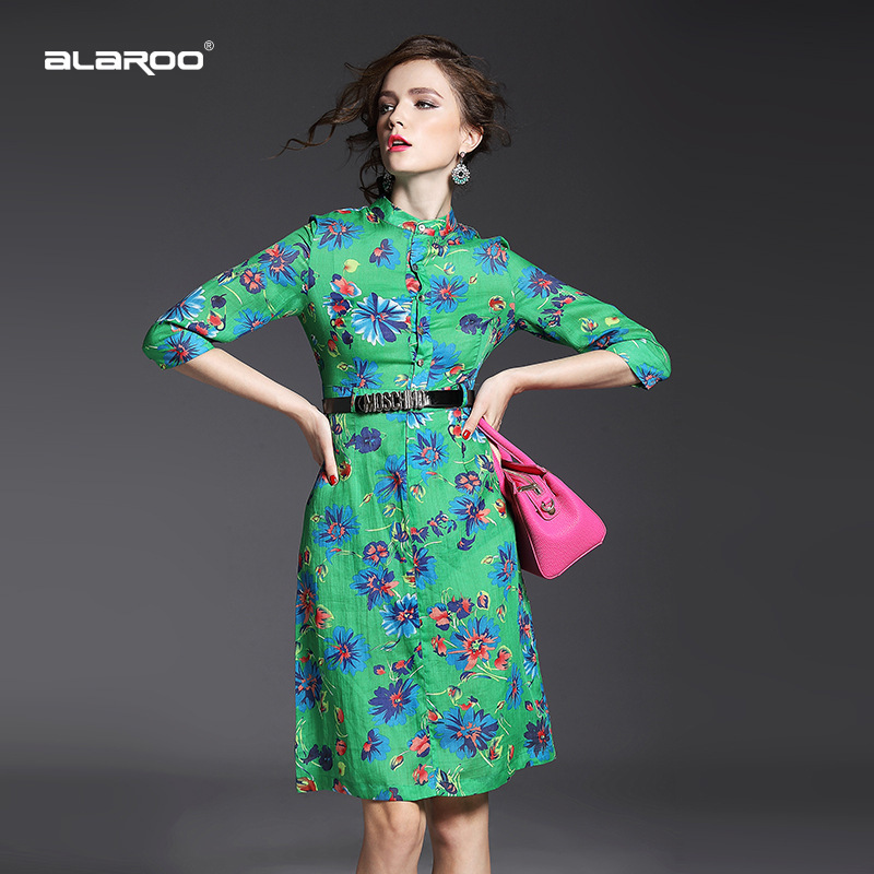 2015 summer new temperament stamp collar waist slim silk linen dress in long quality clothing wholesale(China (Mainland))