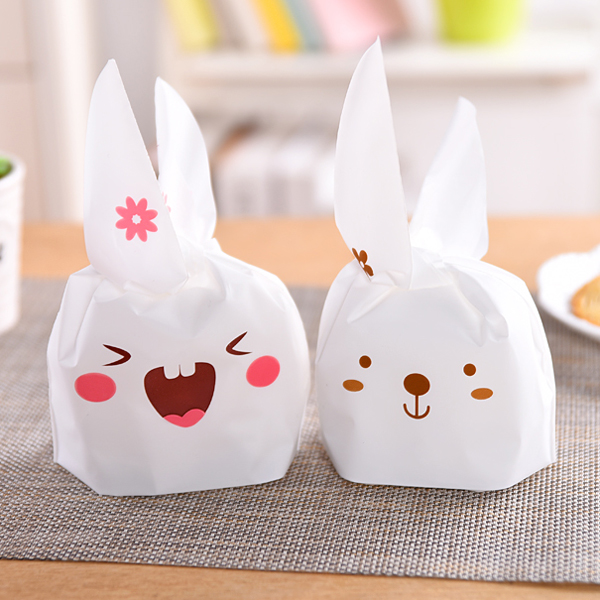 50pcs Rabbit Self-adhesive Packaging Plastic Bag For Bread Fruit Snack Food Gift bag Bolsas De Regalo Vegetable Shop Design(China (Mainland))