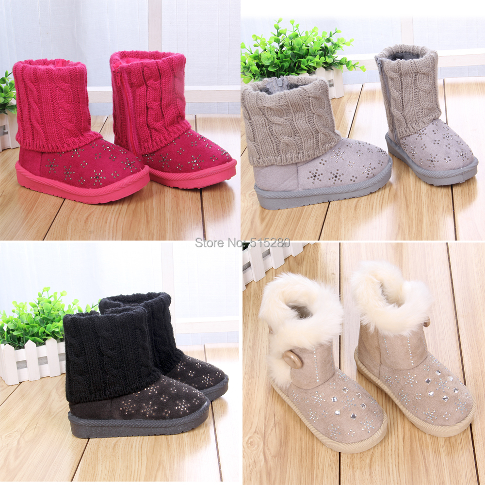 Children Snow Boots Girls Winter Shoes with Snowflake Rhinestone Knitting botas infantil Size21-35(China (Mainland))